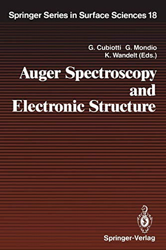Auger Spectroscopy and Electronic Structure: Proceedings of the First International Workshop, Giardini Naxos-Taormina, Messina, Italy, September 10–14, 1988 (Springer Series in Surface Sciences) by