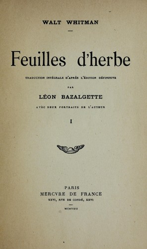 Feuilles d'herbe by Walt Whitman