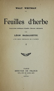 Cover of: Feuilles d'herbe | Walt Whitman