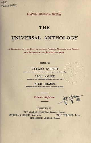 The universal anthology by Richard Garnett