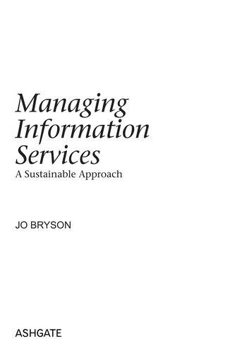 Managing information services by Jo Bryson