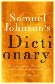 Cover of: Samuel Johnson's Dictionary by Jack Lynch