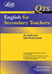 Cover of: English for Secondary Teachers: An Audit And Self Study Guide (Qts: Audit & Self-Study Guides) by Alison Johnson