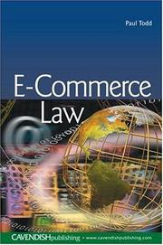 Cover of: E-Commerce Law | Paul Todd