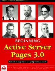 Cover of: Beginning Active Server Pages 3.0 by Jon Duckett