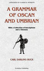 Cover of: A grammar of Oscan and Umbrian | Carl Darling Buck