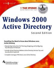 Cover of: Windows 2000 Active Directory | Melissa Craft