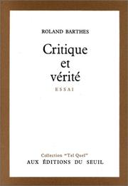 Cover of: Critique Et Verite by Roland Barthes